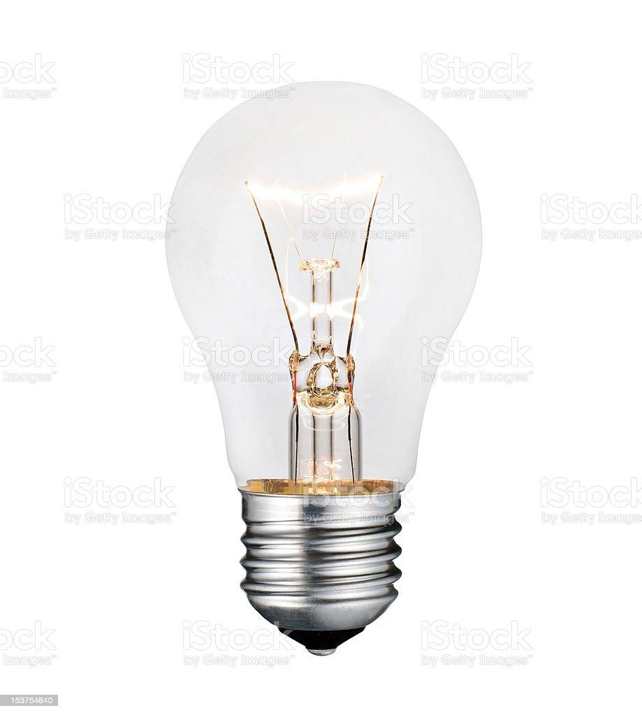 Glowing Lightbulb Photo Isolated on White Background royalty-free stock photo
