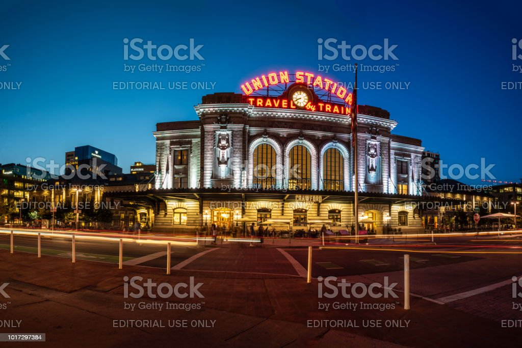 Glowing lights at night in downtown. stock photo