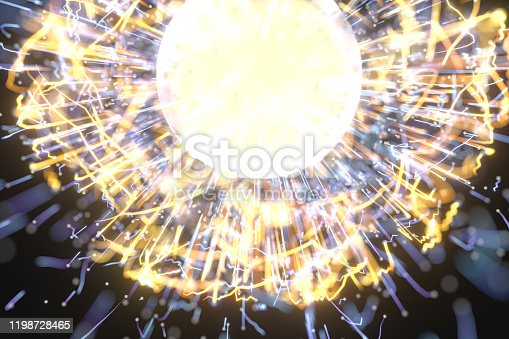 991205326 istock photo Glowing lines with round resource, power and line art, 3d rendering. 1198728465