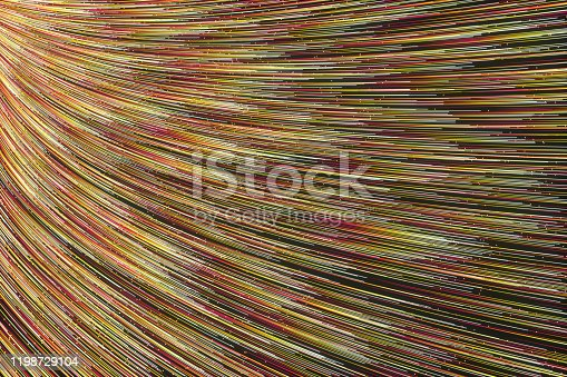 991205326 istock photo Glowing lines with round resource, power and line art, 3d rendering. 1198729104