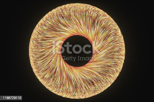 991205326 istock photo Glowing lines with round resource, power and line art, 3d rendering. 1198729110