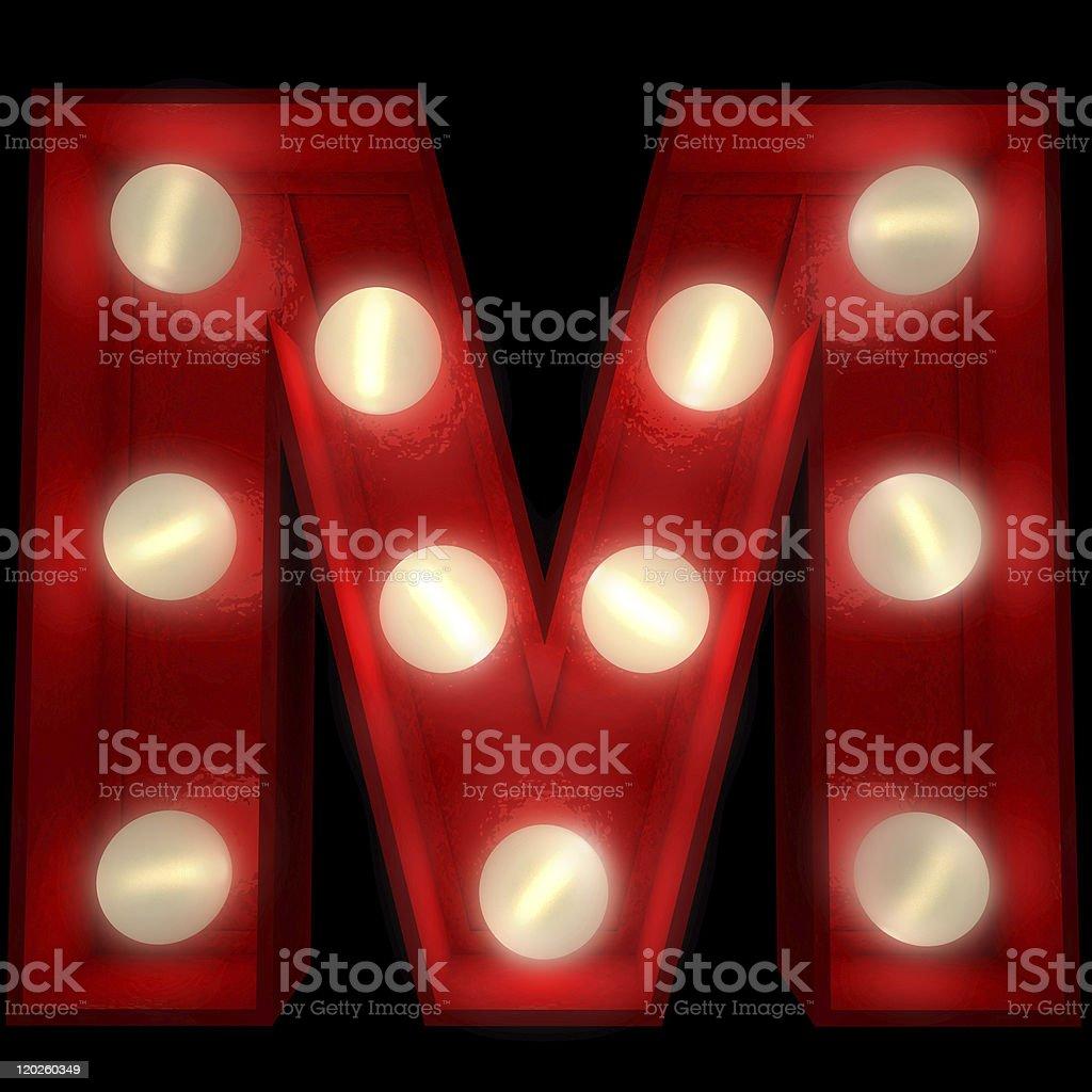 Glowing M stock photo