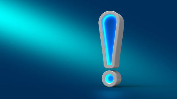 Glowing neon big exclamation mark on the table, on blue background, stock photo