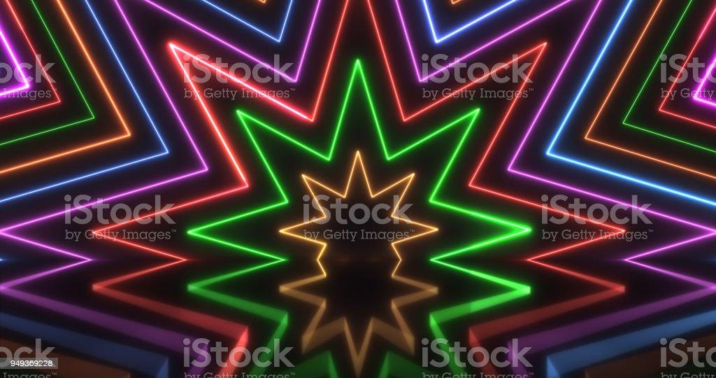 Origens de luzes de néon brilhante - foto de acervo