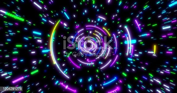 859156600 istock photo Glowing neon lines tunnel. Blue red pink and violet colorful lighting. Seamless 3D rendering background for network, big data, data center, server, internet, speed. 3D render. 3D illustration 1204291275