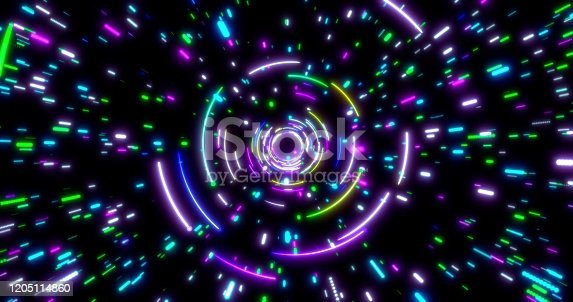859156600 istock photo Glowing neon lines tunnel. Blue red pink and violet colorful lighting. Seamless 3D rendering background for network, big data, data center, server, internet, speed. 3D render. 3D illustration 1205114860