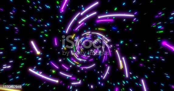 859156600 istock photo Glowing neon lines tunnel. Blue red pink and violet colorful lighting. Seamless 3D rendering background for network, big data, data center, server, internet, speed. 3D render. 3D illustration 1220862949