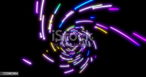 859156600 istock photo Glowing neon lines tunnel. Blue red pink and violet colorful lighting. Seamless 3D rendering background for network, big data, data center, server, internet, speed. 3D render. 3D illustration 1220862954