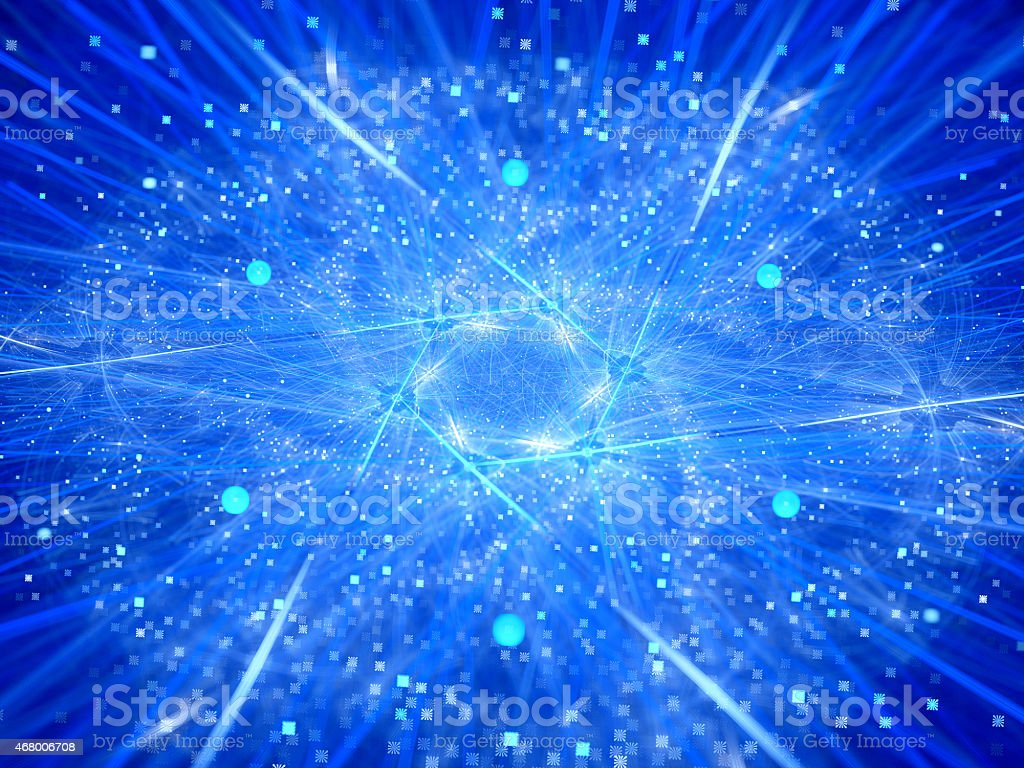Glowing neon nuclear fission abstract background stock photo