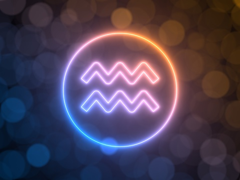 istock glowing neon sign of Aquarius with blurred bokeh background. 3d illustration 1135196600