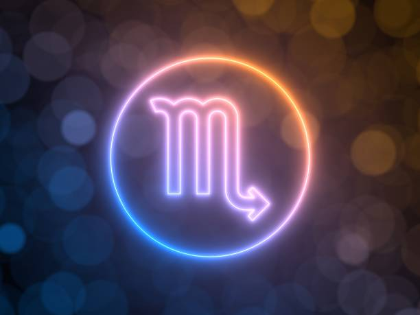 glowing neon sign of Scorpio with blurred bokeh background. 3d illustration glowing neon sign of Scorpio with blurred bokeh background. suitable for zodiac, fate, religion, light and energy themes. 3d illustration scorpio stock pictures, royalty-free photos & images