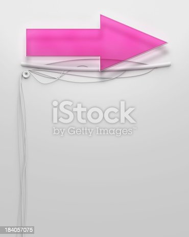 1056445350 istock photo Glowing neon signboard with arrow sign, copyspace 184057075
