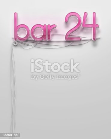 1056445350 istock photo Glowing neon signboard with bar 24 word, copyspace 183991552