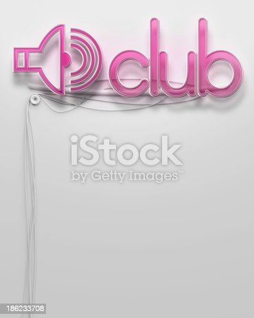 1056445350 istock photo Glowing neon signboard with Club word, copyspace 186233708