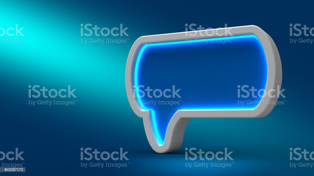 Glowing neon speech bubble on blue background, 3d illustration. Set for design presentations stock photo