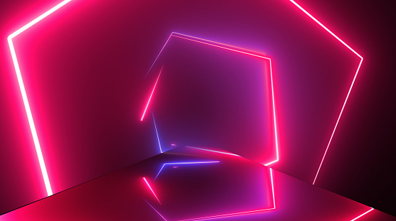 904312598 istock photo Glowing neon tunnel. Abstract seamless background. Fluorescent ultraviolet light. Hexagon shape 1180473876