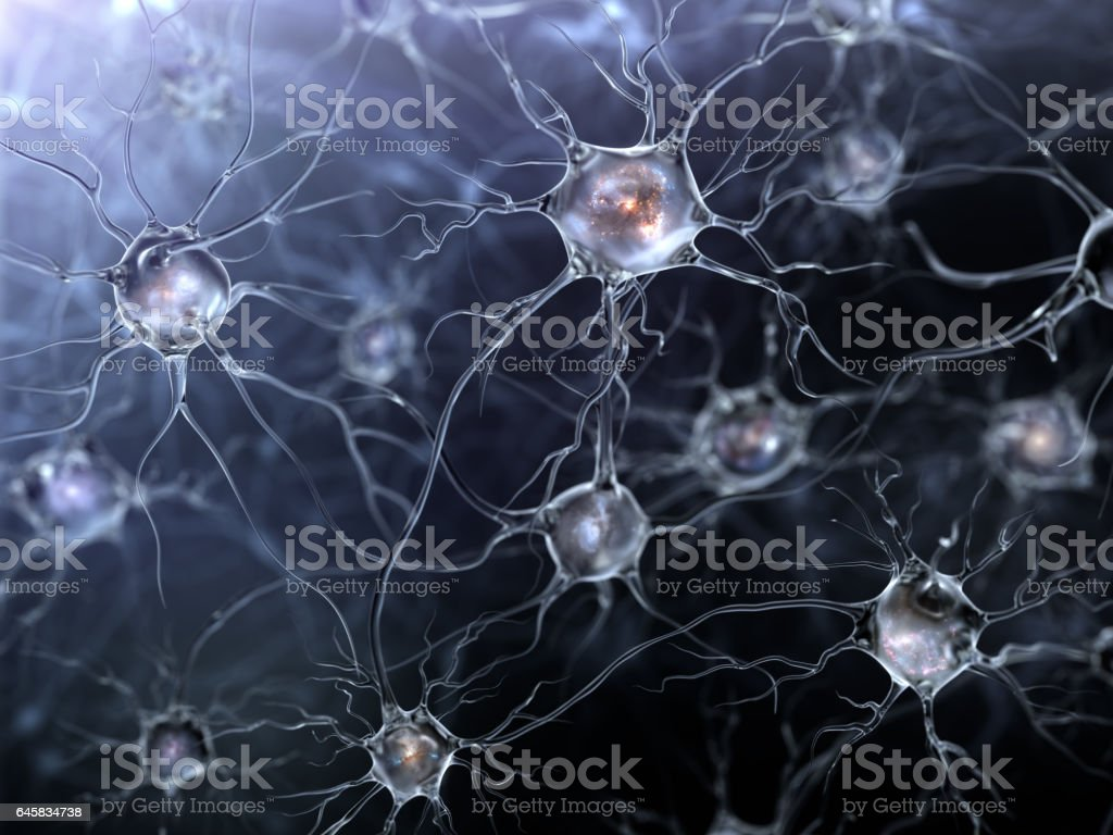 glowing neurons stock photo