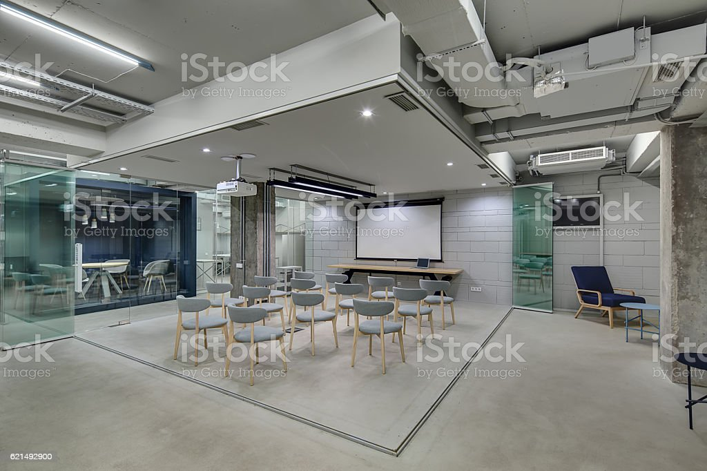 Glowing office in loft style foto stock royalty-free