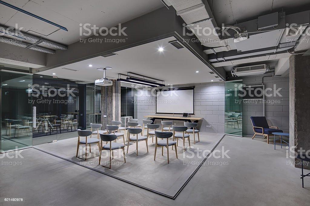 Glowing office in loft style foto stock royalty-free