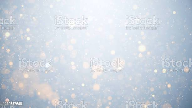 Photo of glowing particles, stars and sparkling flow, abstract background