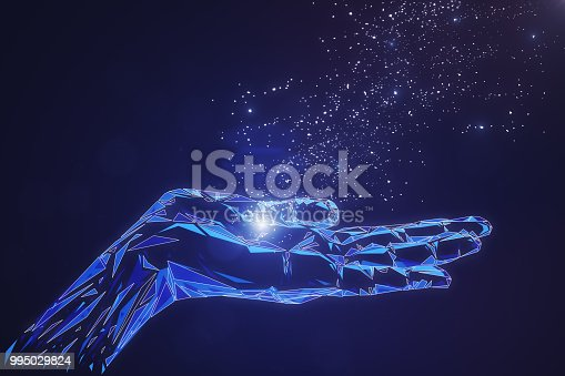 istock Glowing polygonal hand on blue background 995029824