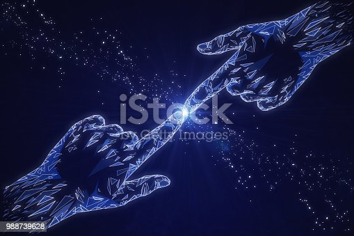 istock Glowing polygonal hands on blue background 988739628