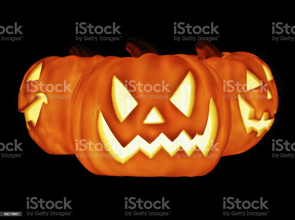 Glowing Pumpkins royalty-free stock photo