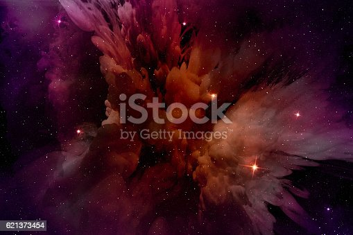 istock glowing purple-red nebula in the stellar field 621373454
