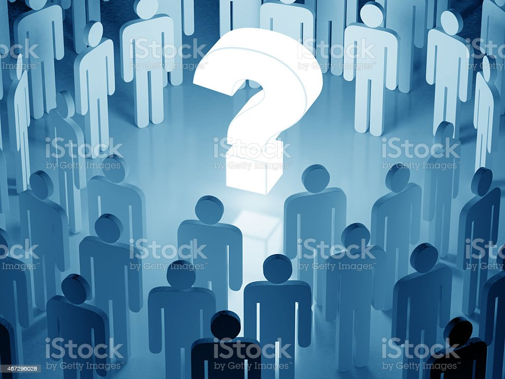 Glowing question among human crowd (blue toned) (3D render) stock photo