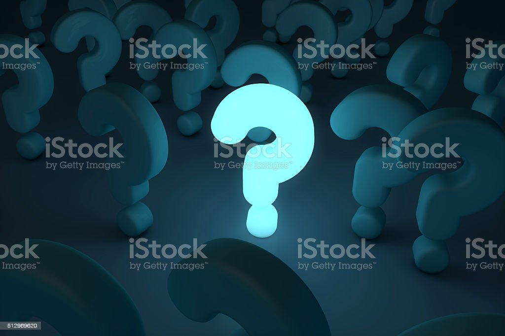 glowing question mark stock photo