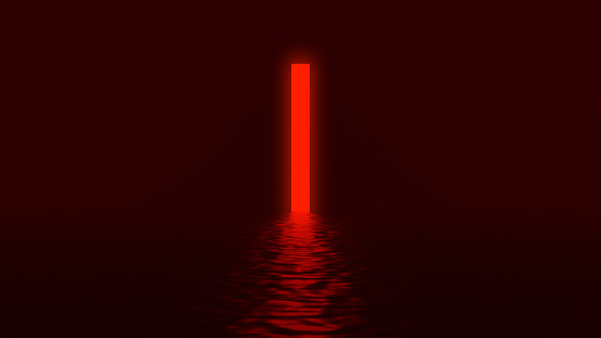 Glowing red neon light rectangle tall portal with distorted reflection on black background. Creative design concept. 3D rendered image