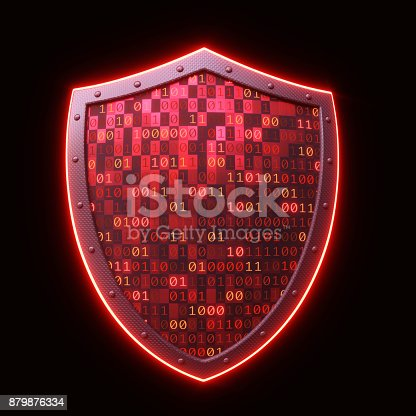 istock Glowing Red Shield Isolated On Black 879876334