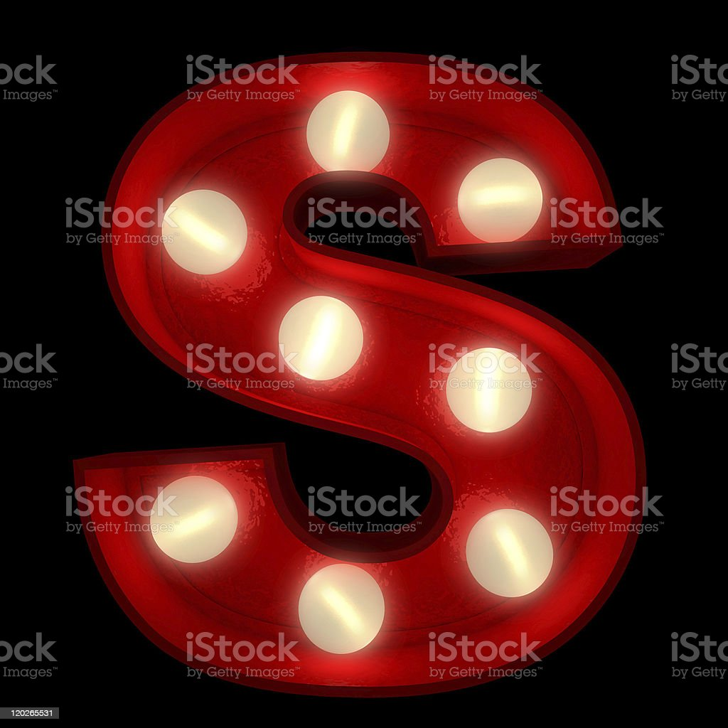 Glowing S stock photo