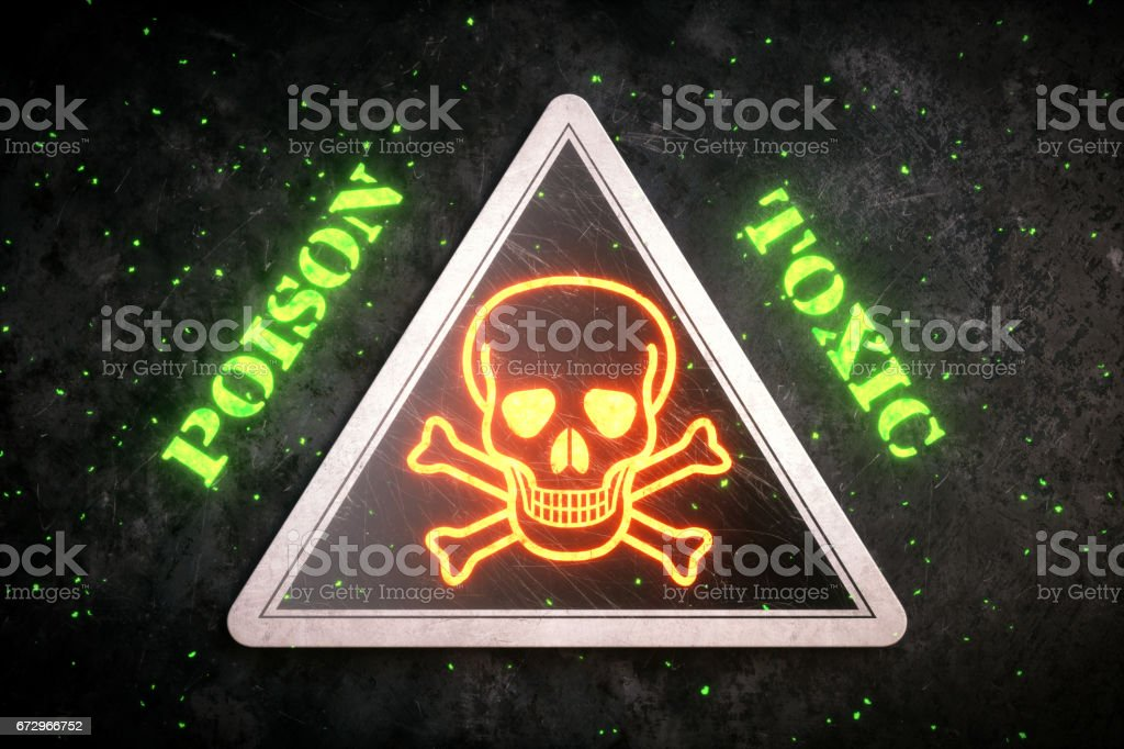 Glowing Skull & Crossbones Triangular Sign stock photo