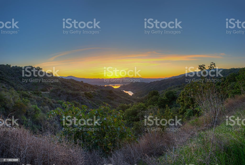 Glowing sky before the sun rises stock photo