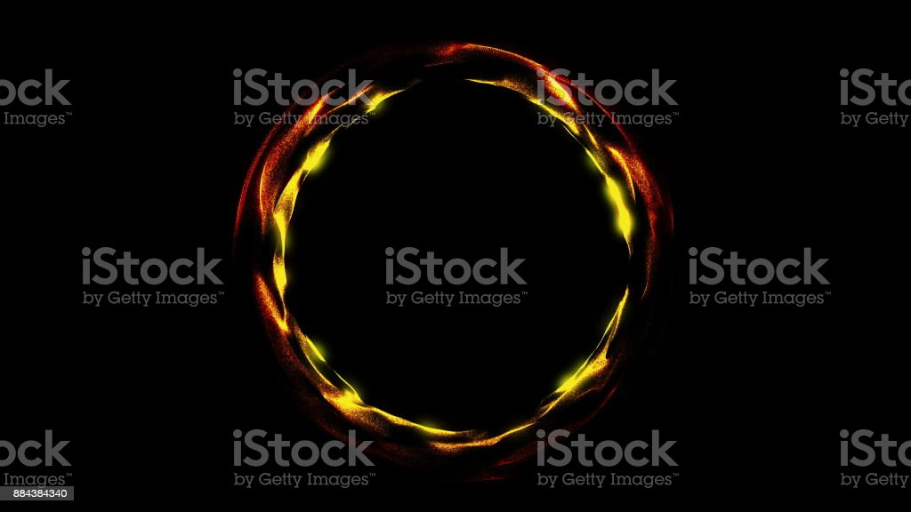 Glowing spiral ring. Abstract digital background stock photo