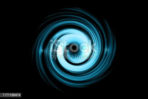 Glowing spiral tunnel with light blue cloud on black sky background