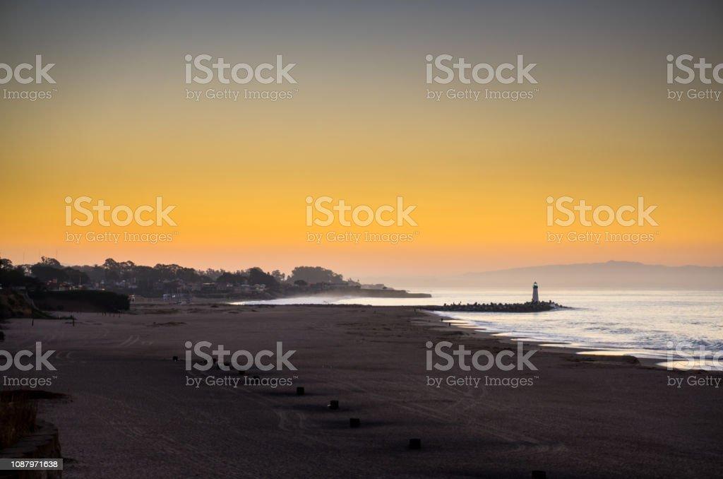 Glowing Sunrise in Santa Cruz stock photo