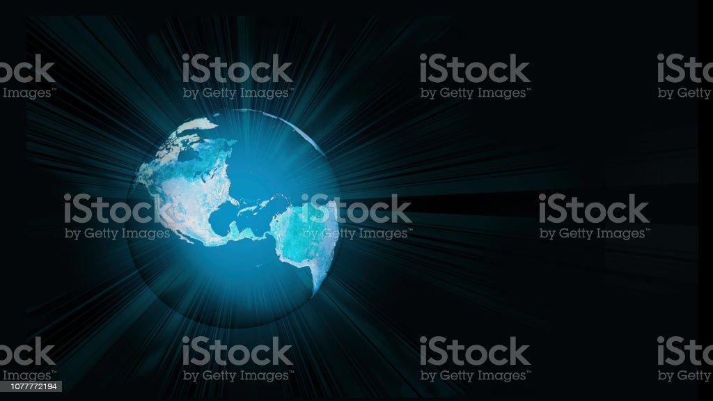 Glowing Radiating Teal Blue Earth in Space - Explosive Light Beams -...