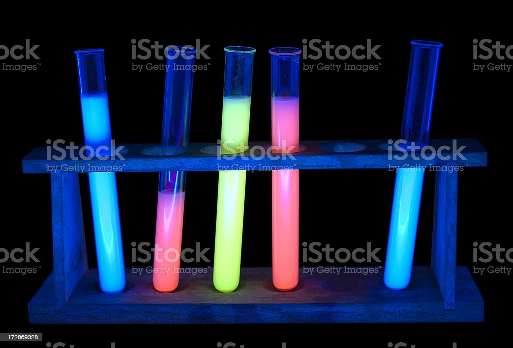 Glowing Test Tubes in Rack stock photo