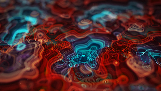 Glowing topographic map. Abstract computer generated background. 3D rendering illustration