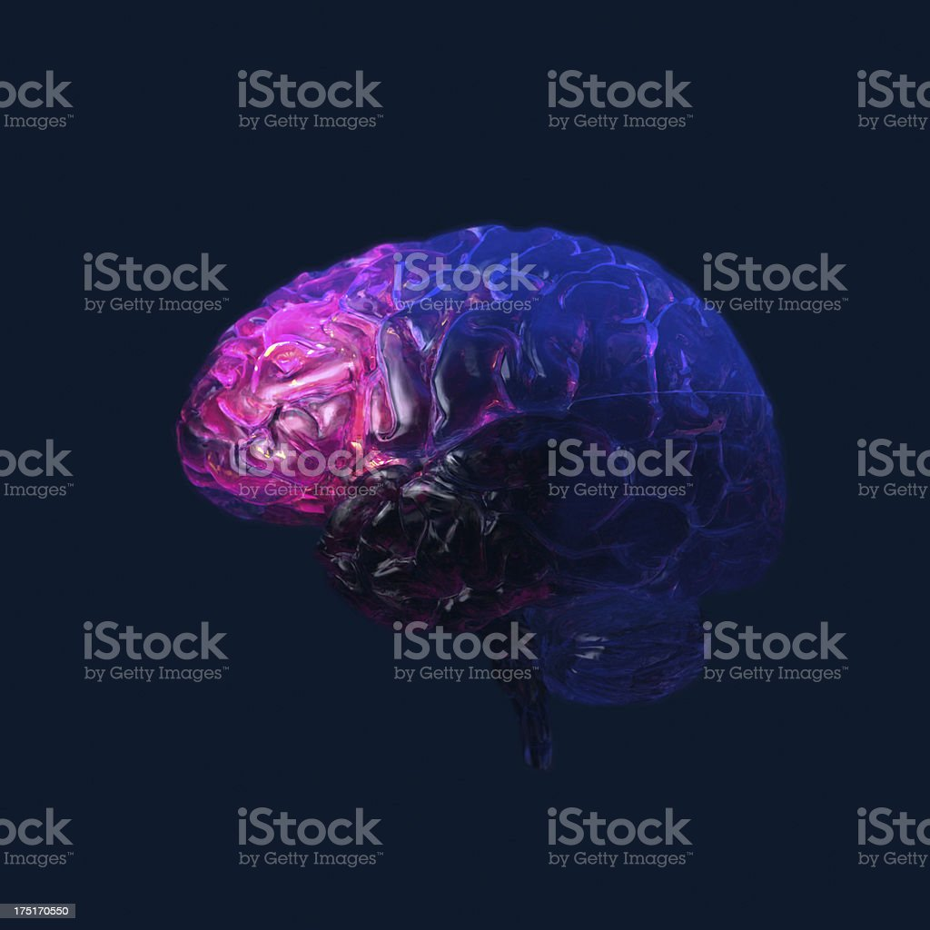 Glowing transparent human Brain on dark background stock photo