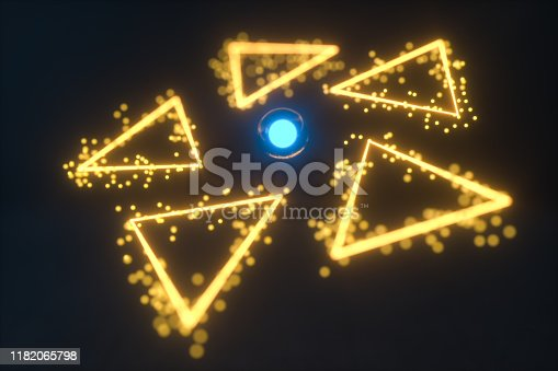 884384640istockphoto Glowing triangles and particles with dark background, 3d rendering. 1182065798