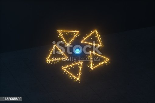 884384640istockphoto Glowing triangles and particles with dark background, 3d rendering. 1182065822