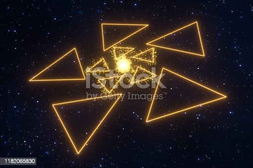 884384640istockphoto Glowing triangles and particles with dark background, 3d rendering. 1182065830