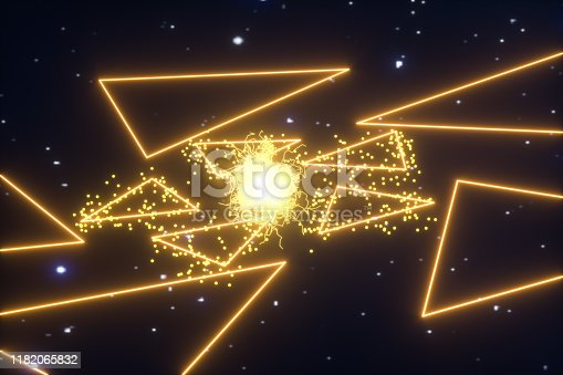 884384640 istock photo Glowing triangles and particles with dark background, 3d rendering. 1182065832