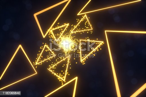 884384640istockphoto Glowing triangles and particles with dark background, 3d rendering. 1182065840