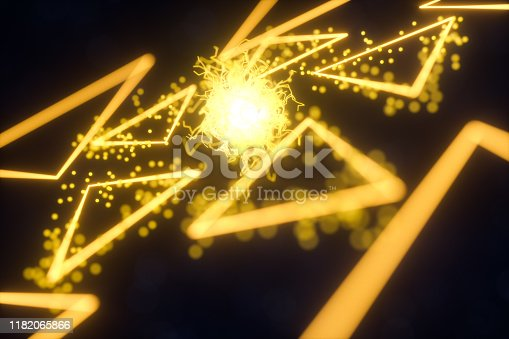 884384640 istock photo Glowing triangles and particles with dark background, 3d rendering. 1182065866