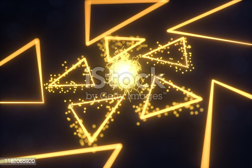 884384640istockphoto Glowing triangles and particles with dark background, 3d rendering. 1182065920