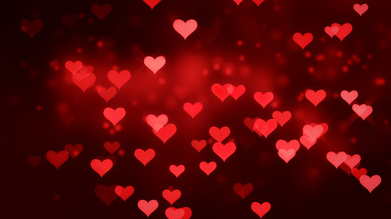 896306118 istock photo Glowing Valentine's Day Red heart shape, Romantic background 1202520705